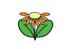 Sticker fleur pétales feuilles