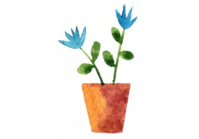 Sticker mural plante fleur bleue