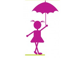Sticker silhouette parapluie