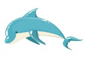 Sticker dauphin bleu blanc