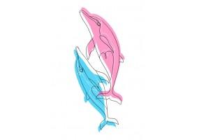Sticker dauphins bleu rose