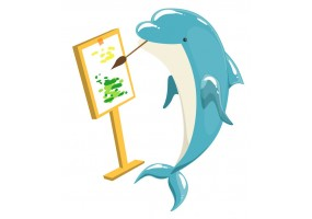 Sticker dauphin peintre