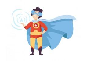 Sticker héros cape bleue