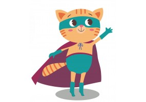 Sticker super héros chat