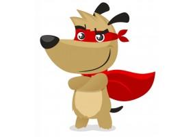 Sticker super héros chien