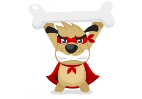 Sticker super héros chien os