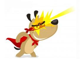 Sticker super héros chien éclairs