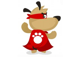 Sticker super héros chien cape
