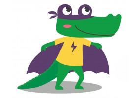 Sticker super héros crocodile
