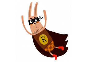 Sticker super héros lapin