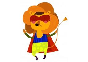 Sticker super héros lion