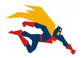 Sticker super héros jaune