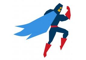 Sticker super héros bleu