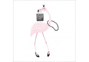 Sticker flamant rose collier