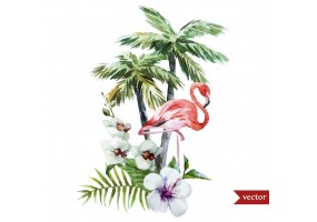 Sticker flamant rose paysage