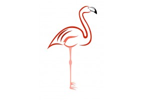 Sticker flamant rose dessin
