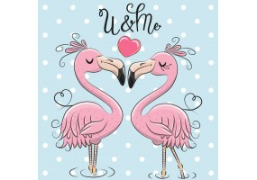 Sticker flamant rose couple