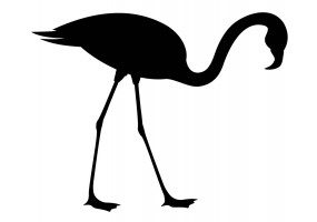 Sticker flamant rose silhouette