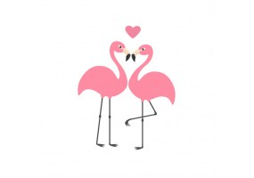 Sticker flamants roses couple