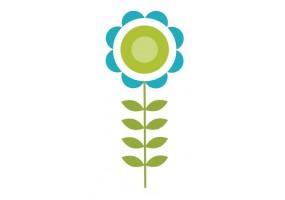 Sticker fleur bleue