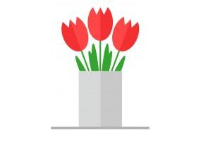 Sticker fleurs rouges bouquet