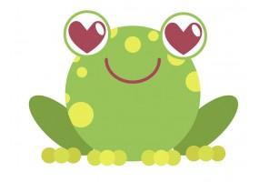 Sticker grenouille yeux cœurs