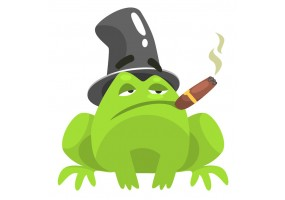 Sticker grenouille chapeau cigare
