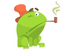 Sticker grenouille chapeau pipe