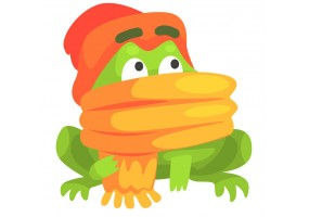 Sticker grenouille bonnet écharpe