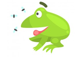 Sticker grenouille mouches