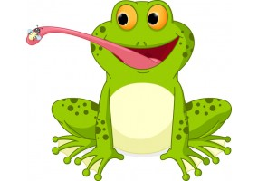 Sticker grenouille langue