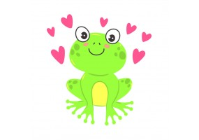 Sticker grenouille cœurs