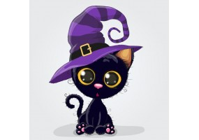 Sticker halloween chat chapeau