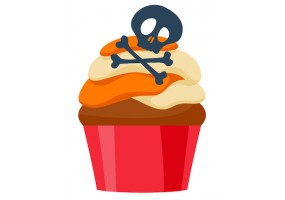 Sticker halloween cupcake