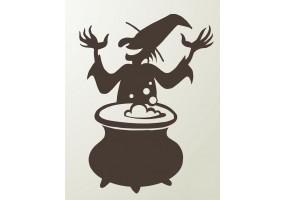Sticker halloween sorcière chaudron