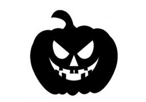 Sticker halloween citrouille noire