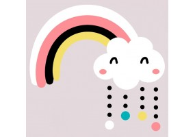 Sticker arc en ciel nuage