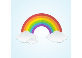 Sticker arc en ciel nuages