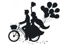 Sticker mariage vélo ballons