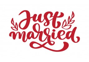 Sticker mariage just married