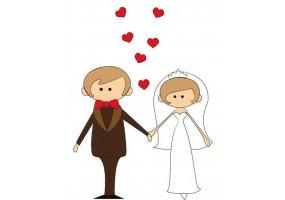 Sticker mariage cœurs