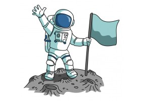 Sticker cartoon astronaute