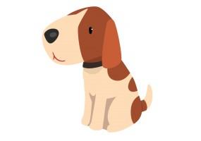 Sticker cartoon chien assis