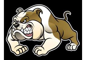 Sticker cartoon chien bulldog