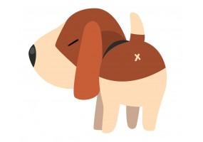 Sticker cartoon chien derrière