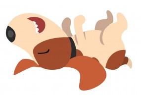 Sticker cartoon chien joue