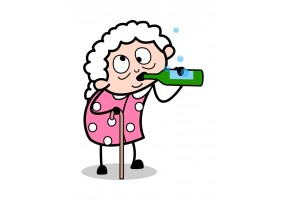 Sticker cartoon mamie bouteille