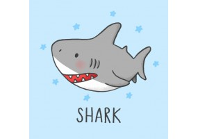 Sticker cartoon requin gris