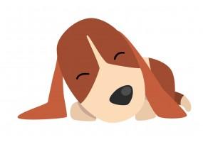 Sticker cartoon chien dort