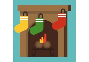 Autocollant cheminée chaussette noel